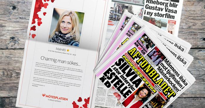Maxa din profil på Mötesplatsen och vinn Sveriges största kontaktannons - en helsida i tidningen Aftonbladet på Alla Hjärtans dag.