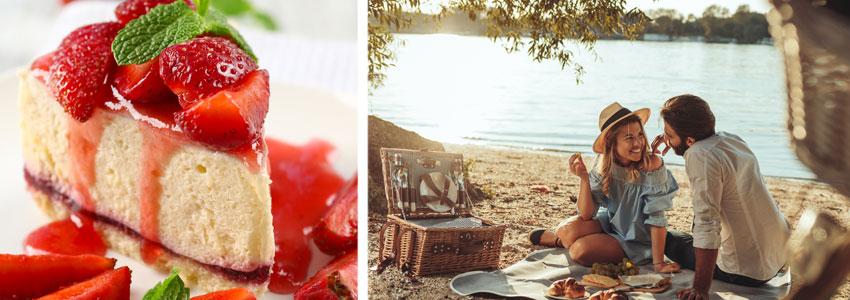 4. Dessert-dejt! Köp eller baka en lyxig jordgubbscheesecake och bjud dejten. Träffas i solnedgången på ett hustak eller på en filt vid vattnet.
