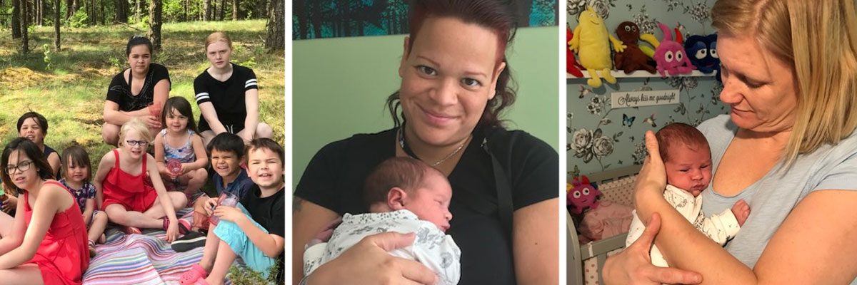Till vänster, 9 av 12 barn. I mitten Johanna med lilla Tess, och till höger Ann-Sofie med Tess - som är parets första gemensamma barn.